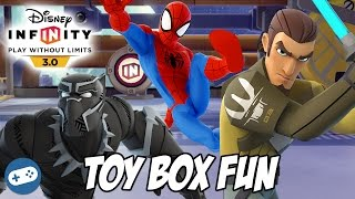 Black Panther Spiderman And Kanan Jarrus Disney Infinity 3.0 Toy Box Fun Gameplay