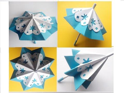 Como hacer paraguas (sombrillas) de papel.  Como fazer um guarda chuva