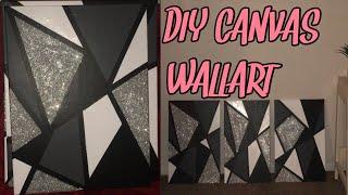 DIY Canvas Wall Art | How To Make EASY Room Decor (Glitter)