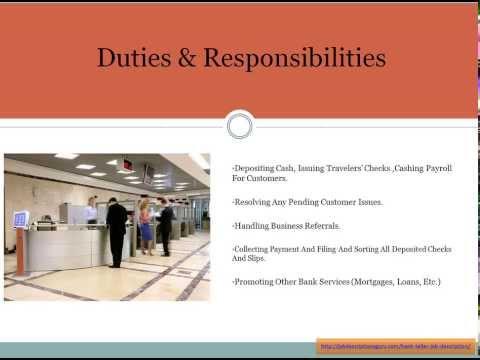 search result   video job descriptionsbank teller job description