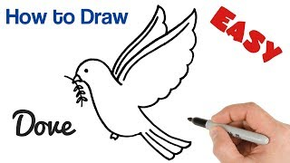 How To Draw A Dove With Olive Branch | Pigeon Drawing Easy Art Tutorial