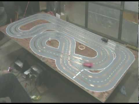 Home slot car track  27ft +  on 4 x 8 plywood