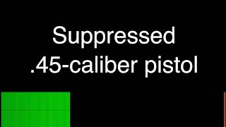 Audio comparison of nail guns, suppressed and unsuppressed .45-caliber pistol