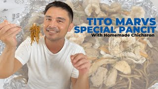 Tito Marvs Special Pancit with Homemade Chicharon