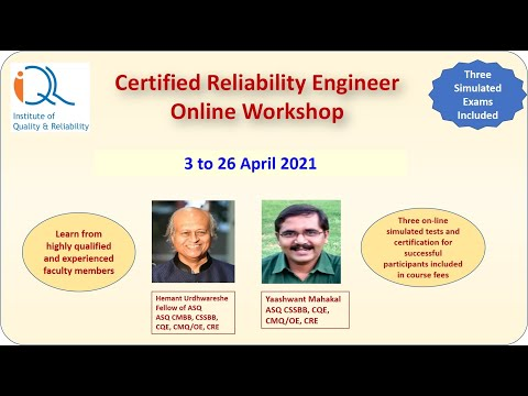 Certified Reliability Engineer Online Workshop 3-26-April-21 ...