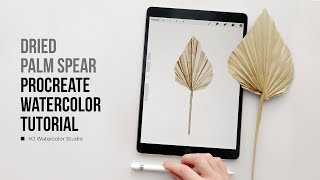 Dried Palm Spear | Palm Leaves Illustration | Procreate Watercolor Tutorial