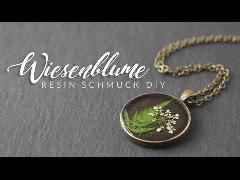 Wiesenblume im Anhänger | Resin Schmuck Anfänger DIY | Gießharz Anleitung | Wiesen-Kerbel Kette