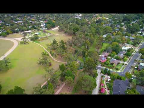 YouTube Video of Aerial footage showing the section of Tarralla Creek in Croydon to be reimagined. From Eastfield Road to Dorset Road.