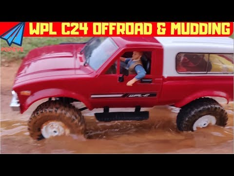 WPL C24 - RC TOYOTA Rock Crawler Offroading Test - First Ride Adventures - RC With Popeye