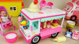 Baby Doll and ice cream car toys making ice cream play doh