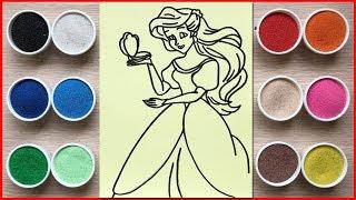 Đồ chơi trẻ em, tô màu tranh cát công chúa lọ lem Cinderella - Sand painting cinderella (Chim Xinh)