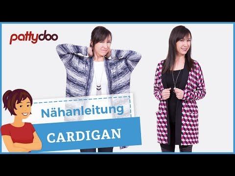 Cardigan aus Strickstoff nähen - Muster zuschneiden, Nahttasche, Zwillingsnaht und Bündchen