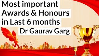 Most important Awards & Honours in last six months - January to June 2019 Current affairs by Dr GG
