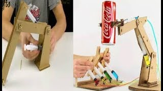 how to make hydraulic powered robotic arm from cardboard step by