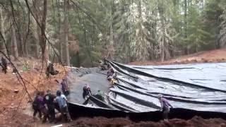 Large Pond Liner Install
