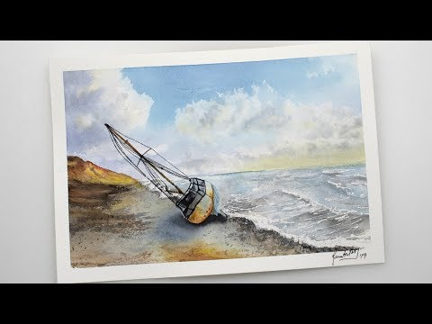 Watercolor seascape painting - SHIPWRECK on the beach
