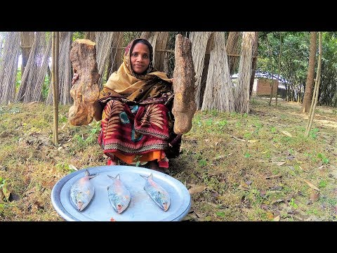 99.99% People Never Seen This Vegetables!!! Mati Alu & Ilish Fish Curry Cooking For Village Kids