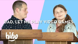 Parent vs. Kid: 9 Year Old Debates Her Dad To Play Video Games | Spirited Debates | HiHo Kids