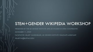 "Image of slide with the words ""STEM + Gender Wikipedia Workshop."""