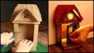 ❣DIY Rustic Fairy Door Lamp Using Cardboard Boxes❣