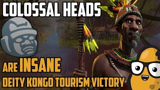 Colossal heads are actually INSANE for Tourism - Deity Kongo Culture Victory - Civilization 6