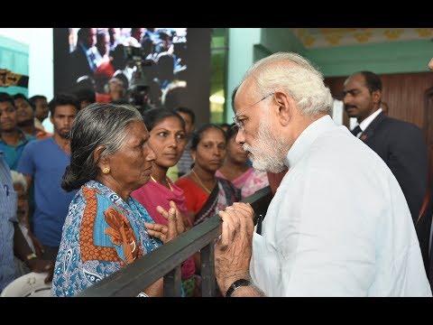 PM Narendra Modi interacts with victims of Ockhi in Thiruvananthapuram, Kerala