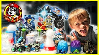 Monster Jam MAD SCIENTIST Beaker Creatures Turns DOGS into DRAGONS! (MONSTER DIRT ARENA & Dragamonz)