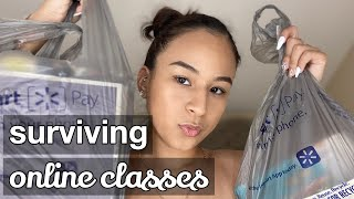 STUDY TIPS FOR ONLINE CLASSES | COLLEGE SCHOOL SUPPLY HAUL | Vlog Pt. 1