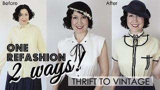Mens Shirt Refashion To A Simple Ladies Blouse...2 WAYS!!! Thrift To Vintage