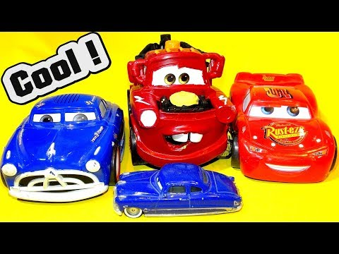 Disney Pixar Custom Painted Shake And Go Mater Like Lightning McQueen With Fabulous Doc Hudson