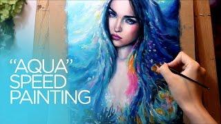OIL PAINTING TIME LAPSE || Mermaid Aqua