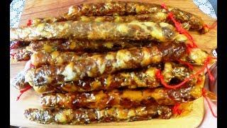 """Колбаски """"Рыбацкие"""", сырокопчёная колбаса из щуки, Мой авторский рецепт"""