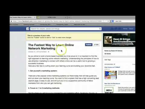 Inserting a hyperlink to facebook notes