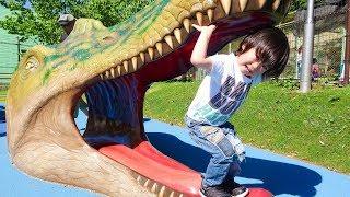おでかけ恐竜さんがたくさんいる公園へ遊びに行ったよ!レオスマイル