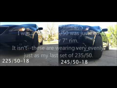 Comparison of Tire Sizes on 2013 Chrysler 200S 225/50-18 to 245/50-18