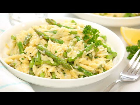 Creamy Orzo with Asparagus | One Pot + Family Friendly Dinner Recipe!