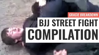 BJJ STREET FIGHT COMPILATION!!! Viking Choke, Russian Triangle, Failed Guard (Gracie Breakdown)
