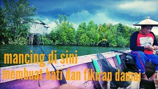 preview picture of video 'Mancing di muara sungai kalimantan ikannya mahal mahal'