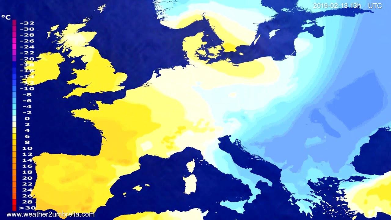 Temperature forecast Europe 2019-02-12