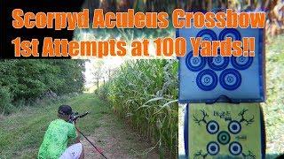 Scorpyd Aculeus Crossbow at 100 yards 1st Attempt! Spyderweb Target