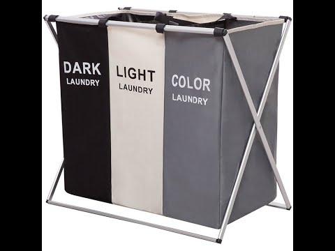 Корзина для белья складная с 3 отсеками для сортировки темных, цветных и светлых вещей Laundry Basket (LВ -25256) Video #1
