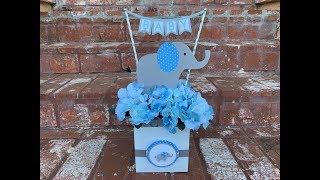 Centro De Mesa De Elefante Para Baby Shower.. Elephant Baby Shower Centerpiece