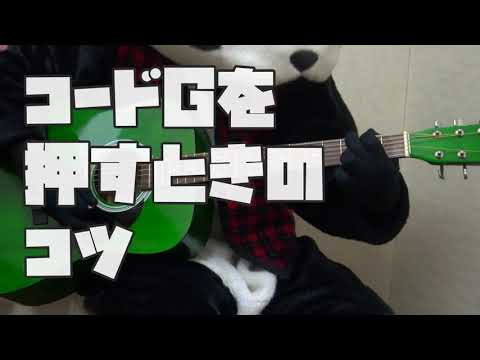 【フェイフェイのパンダでもわかるギター講座】コードの弾き方編G