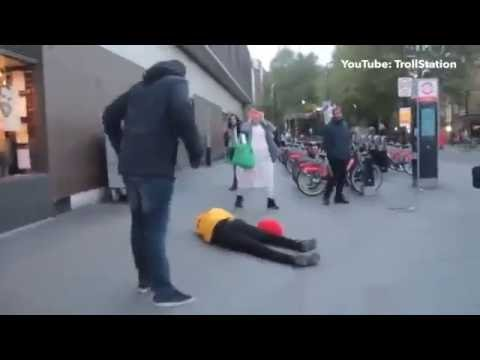 Killer Clown Gets Knocked Out In London!