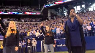 Angela Brown sings the National Anthem at the Colts Game
