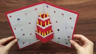 DIY - Cake Pop Up Card For Birthday| Easy 3D Cards | Beautiful Handmade Birthday Greeting Card