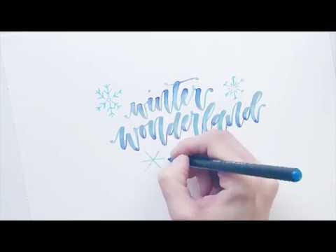 Brush Lettering mit Glitzer-Verlauf #letterattacksinspiration