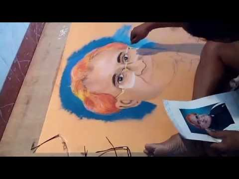 portrait rangoli design by prakash betawar