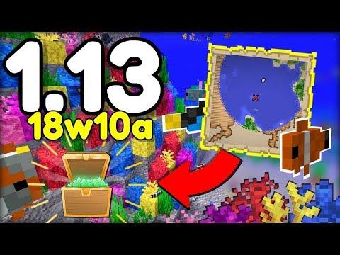 NOVÉ TROPICKÉ RYBY ZNAČENÍ MAP ZTRACENÉ POKLADY v Minecraftu 1.13! (18w10a)