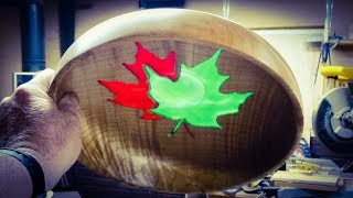 Woodturning a Maple Leaf Bowl - Resin Inlay